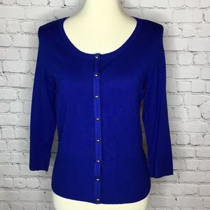 WHBM SNAP FRONT CARDIGAN BLUE
